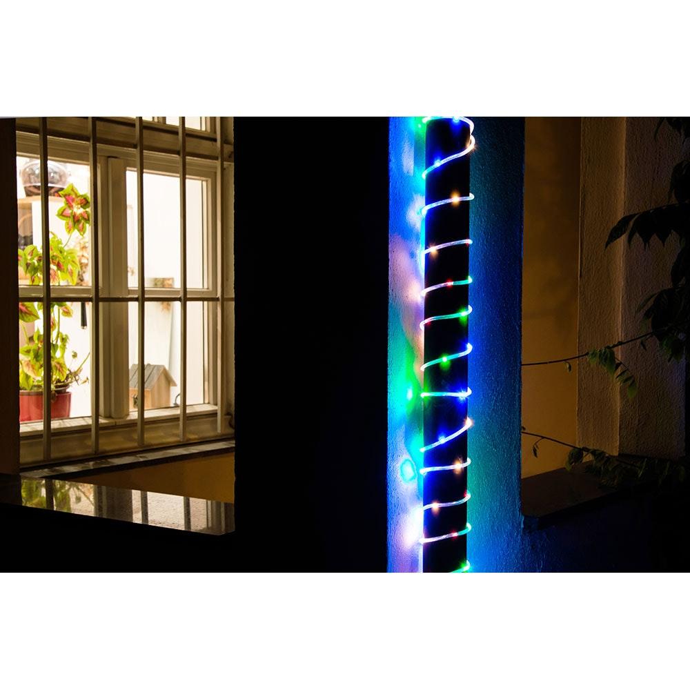 LED Mini Lichterschlauch 10m mit Lichtsensor Timer 130 bunte Dioden batteriebetrieben IP44 3