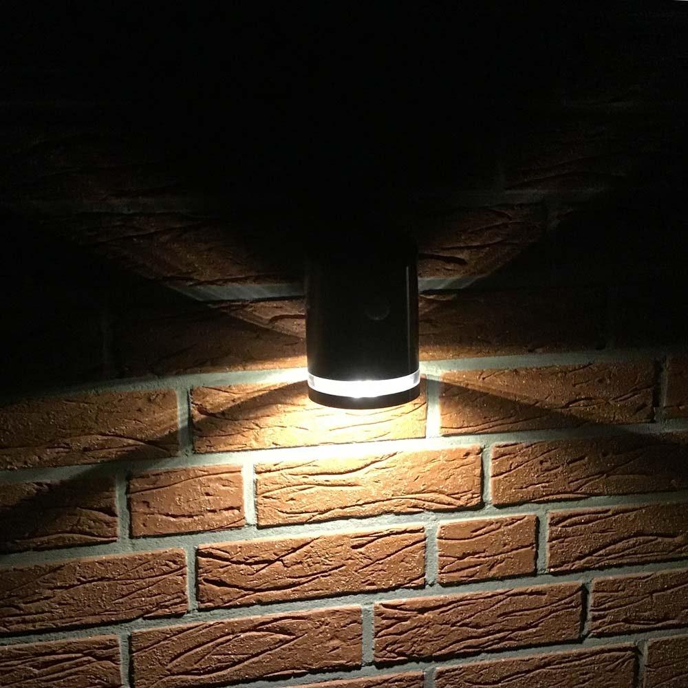 Premium LED Solar Wandleuchte mit Bewegungsmelder Edelstahl 4