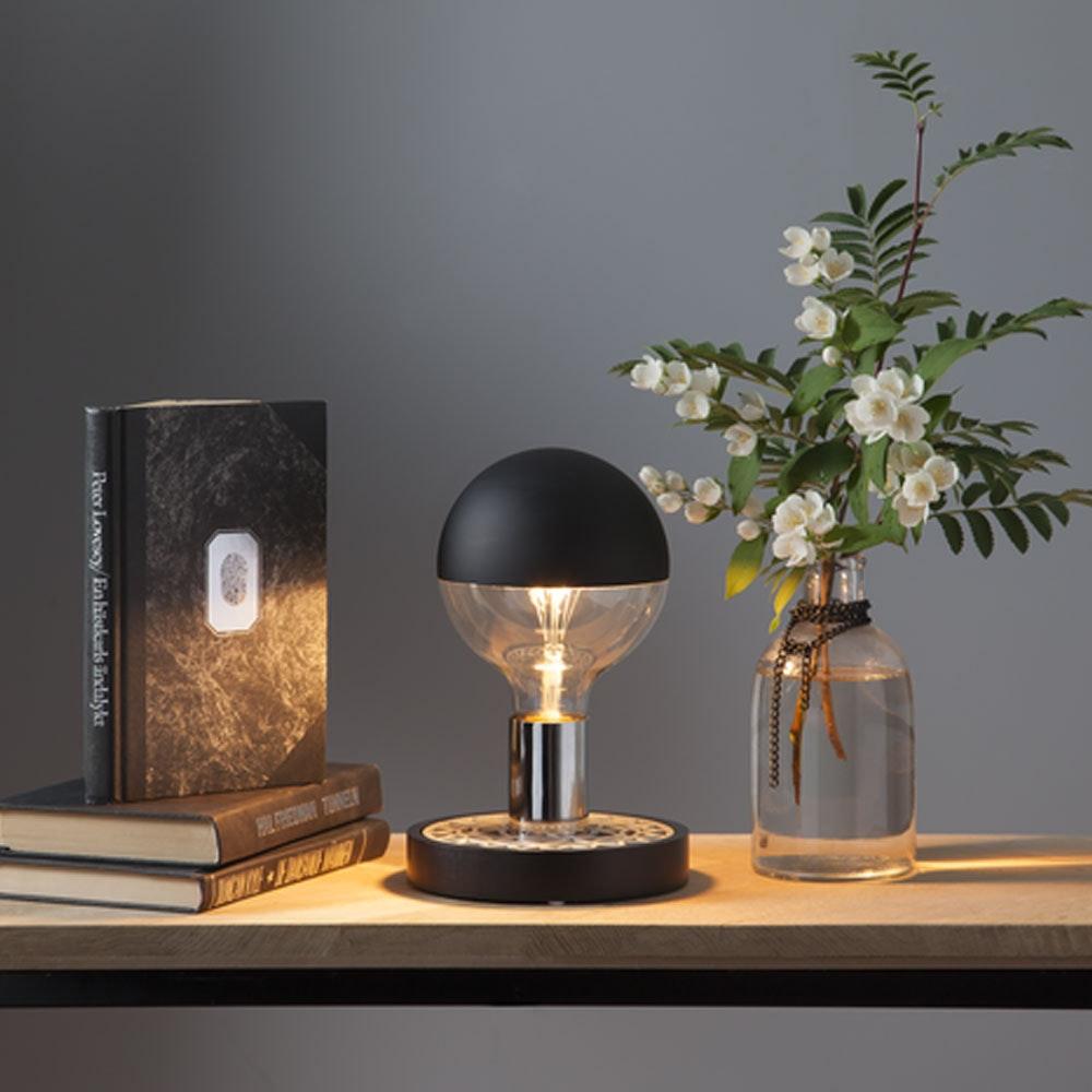 Tischleuchte für E27 Leuchtmittel Schwarz, Silberfarben 2