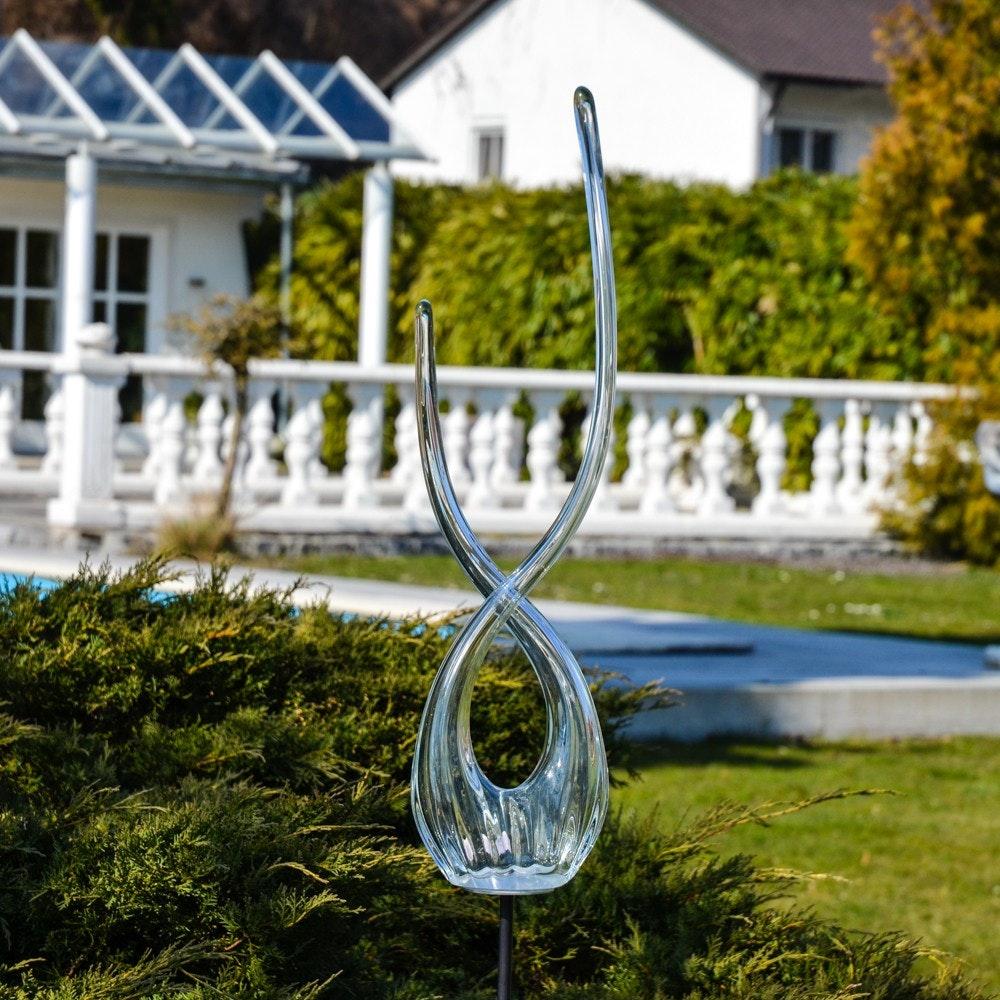 Mundgeblasene Glas-Doppelflamme 115cm mit Erdspiess Klar