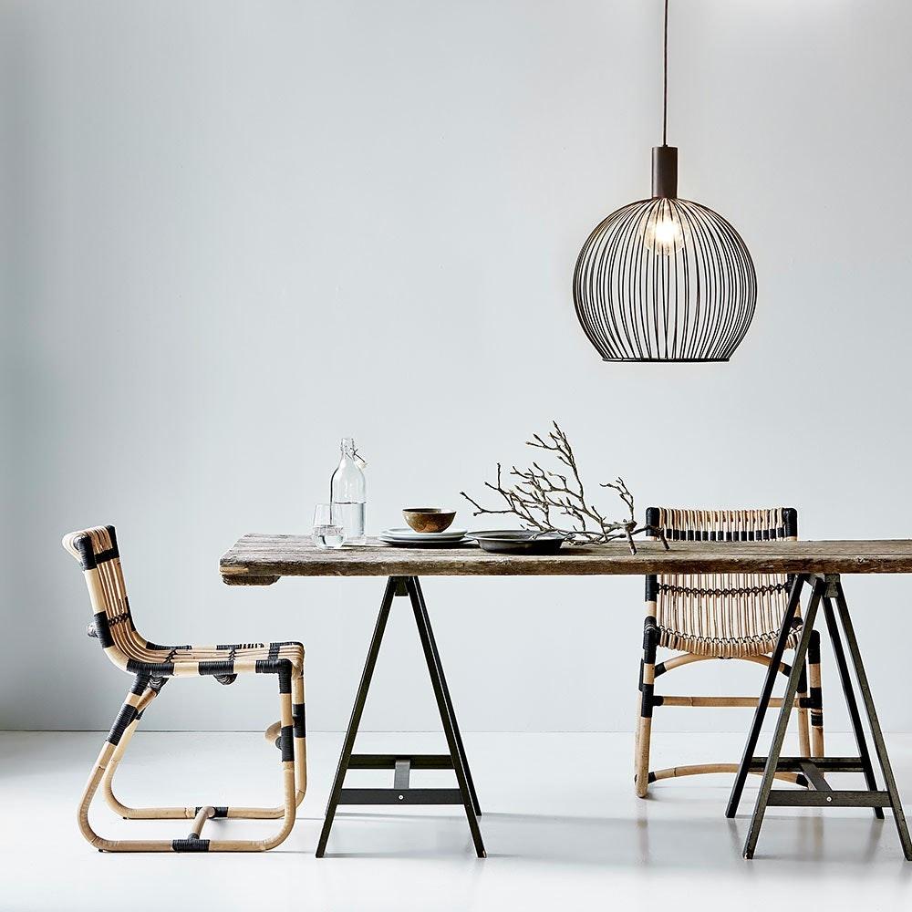 Design for the People Aver 50 Gitter-Hängeleuchte Ø 50cm mit Stoffkabel Schwarz