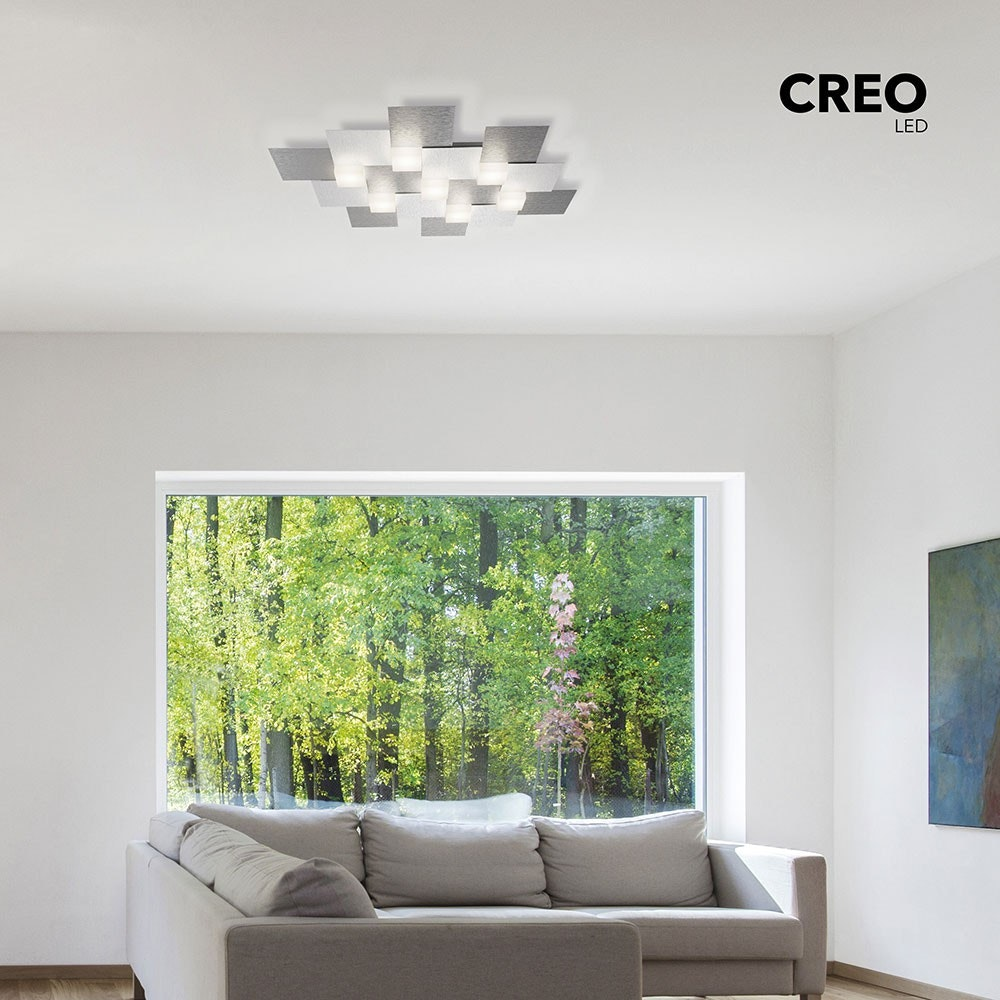 Creo LED-Deckenleuchte 4-flammig 55 x 38cm Alu-matt