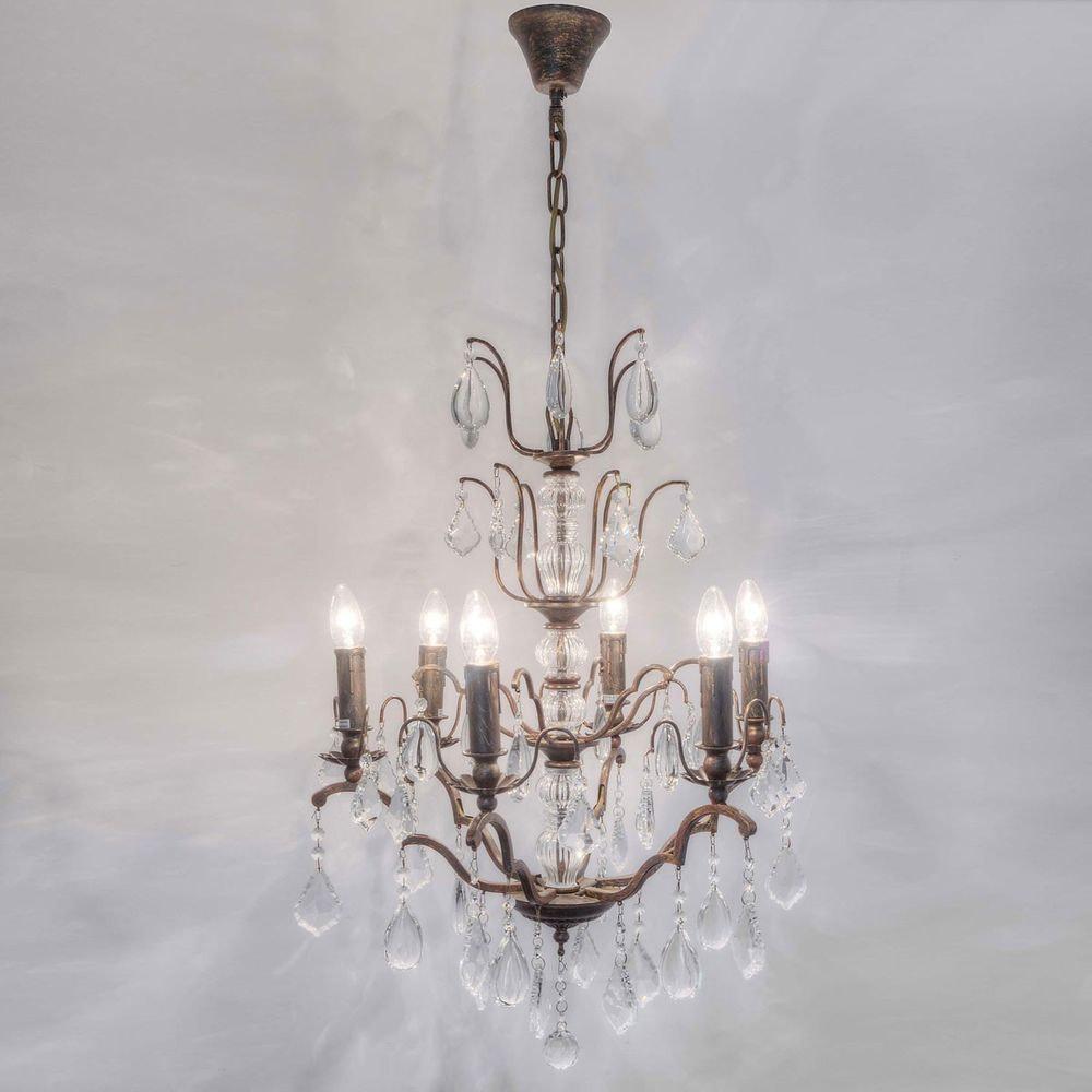 Hängeleuchte 6-flammig Cristallo Eisen-Glas Antikbraun-Gold 1
