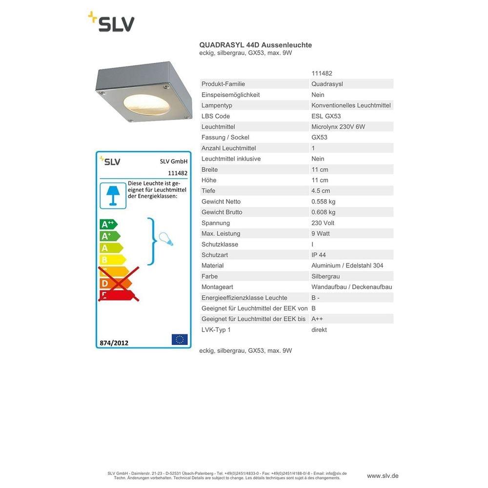 SLV Quadrasyl 44D Aussenleuchte eckig silbergrau GX53 max. 9W 2