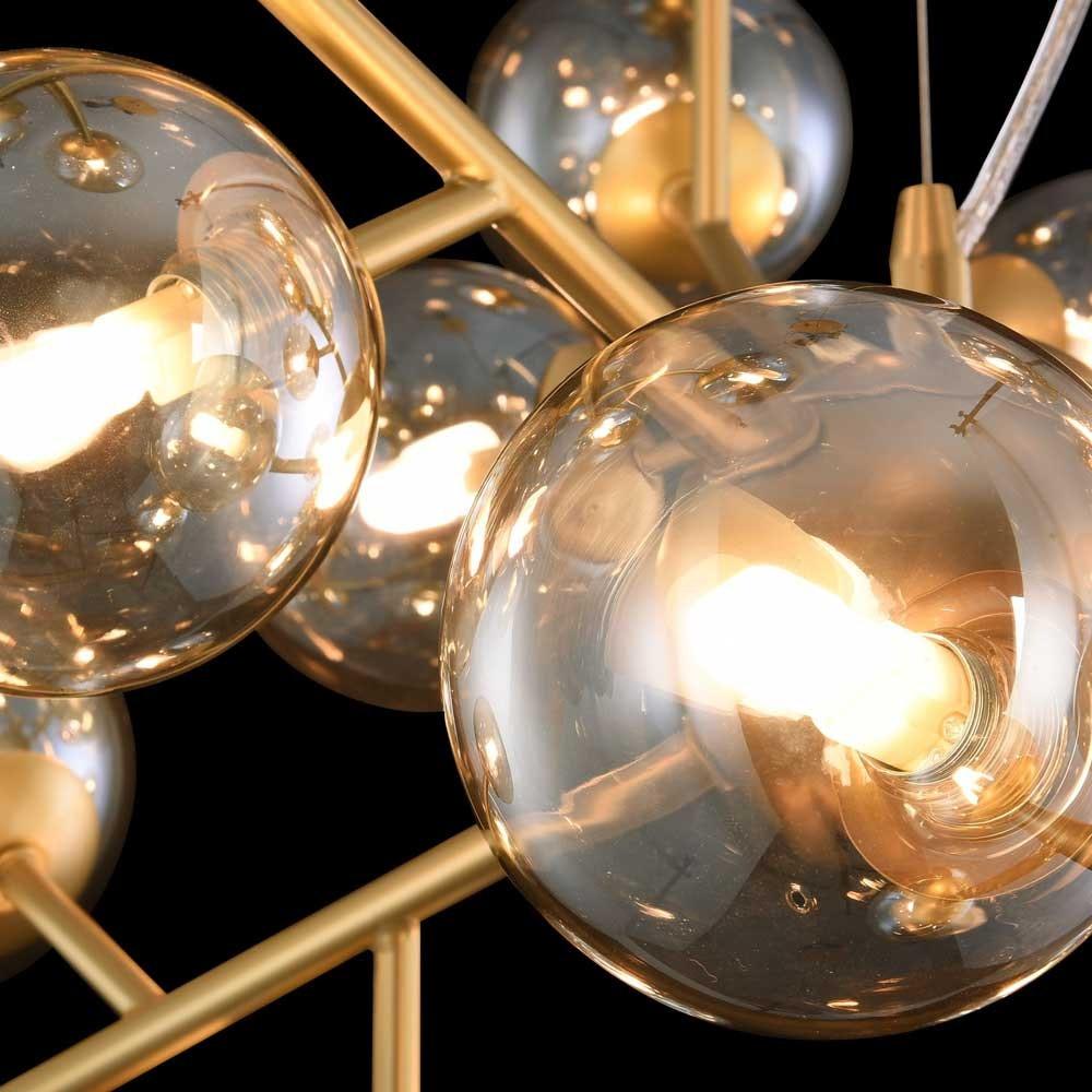 Glamouröse Deckenleuchte Glob 60cm Goldfarben 12 x Rauchglas 3
