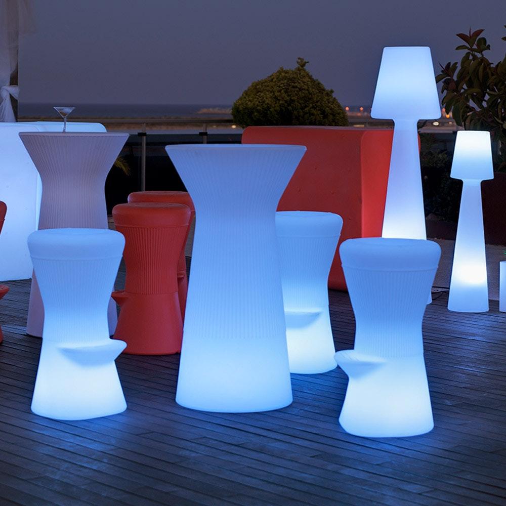 Licht-Trend LED beleuchteter Hochtisch Capri 110cm mit Fernbedienung  2