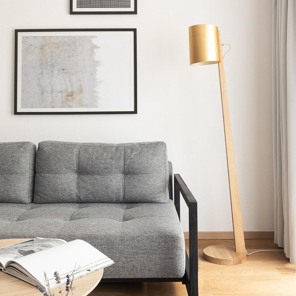 Holz Stehlampe mit Schirm Zylindrisch 167cm 7