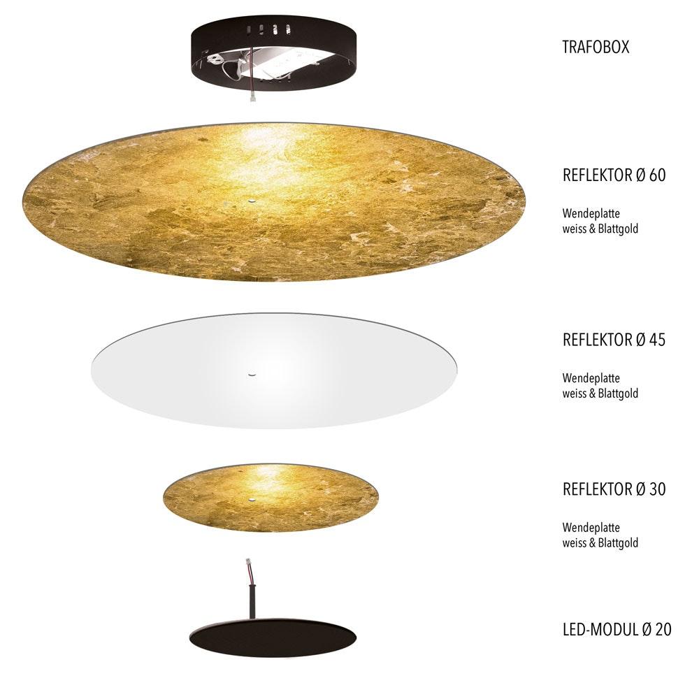 s.LUCE LED Wand- und Deckenlampe Plate Blattgold 13