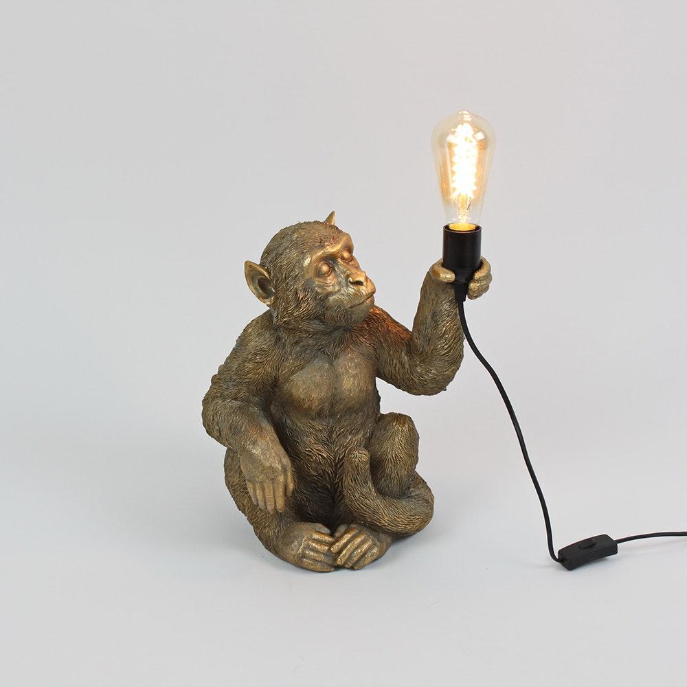 Kunststein Tischleuchte Monkey Sitzend 1