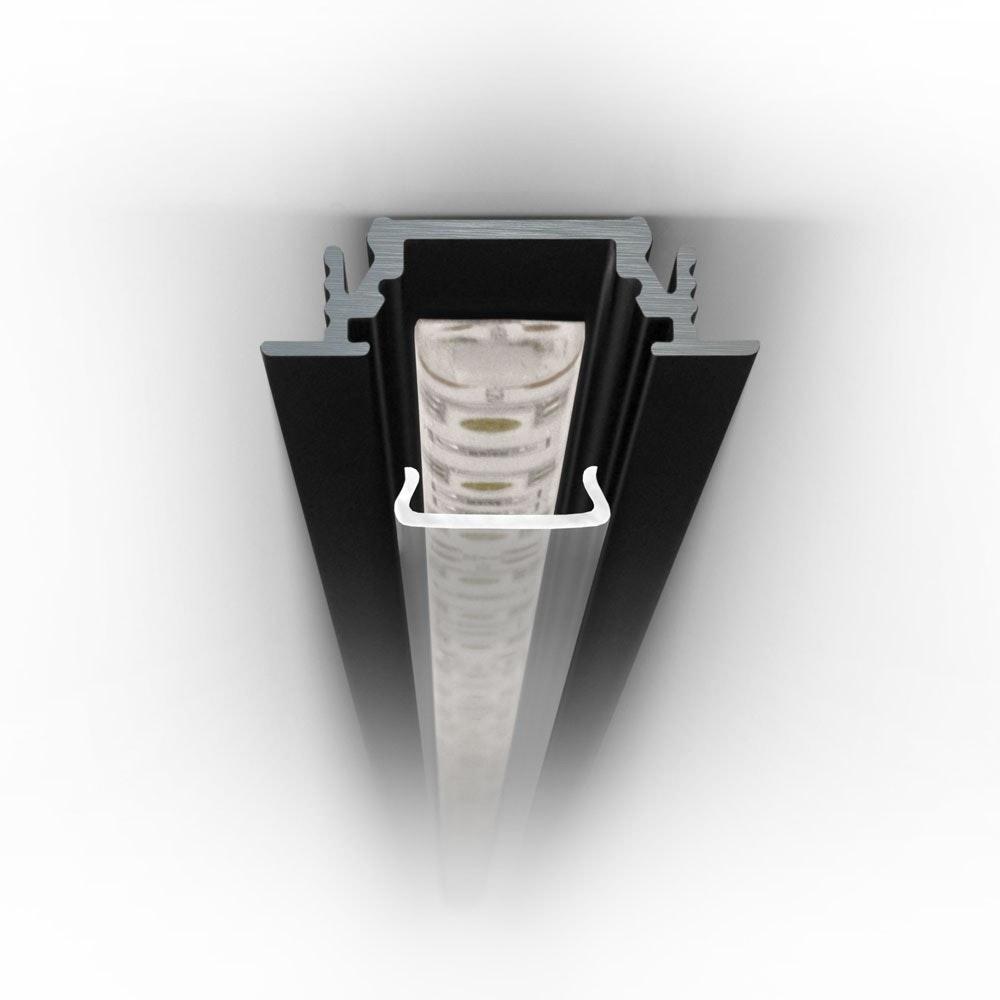 Einbauprofil flach 200cm Schwarz ohne Abdeckung für LED-Strips 5