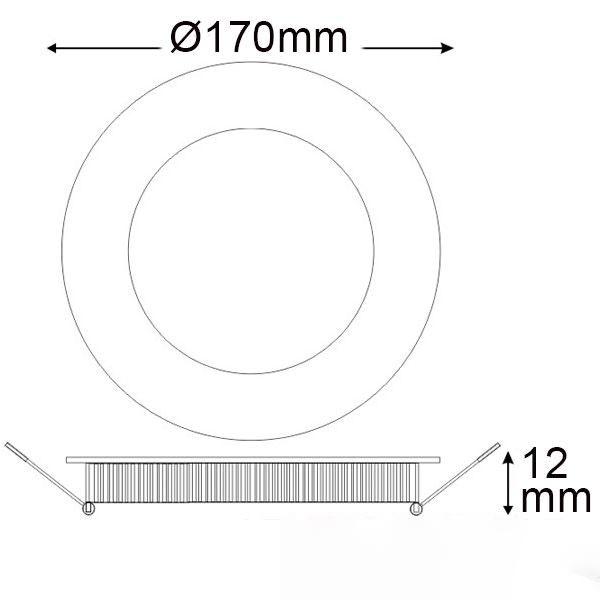 LED Einbaupanel Ø 17,5cm flach rund silber dimmbar 12W warmweiß 3