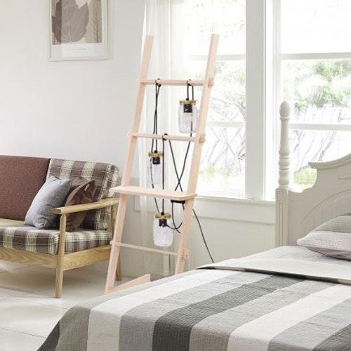 Ladder Leiter Stehleuchte mit 3 Gläsern Naturholz 3