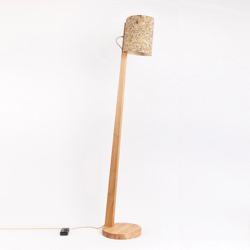Holz Stehlampe mit Schirm Zylindrisch 167cm 2