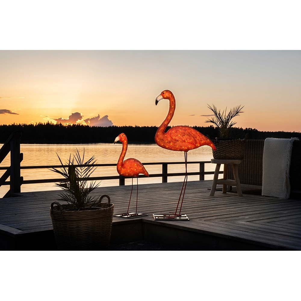 LED Acryl Flamingo klein 48 bernsteinfarbene Dioden IP44 3
