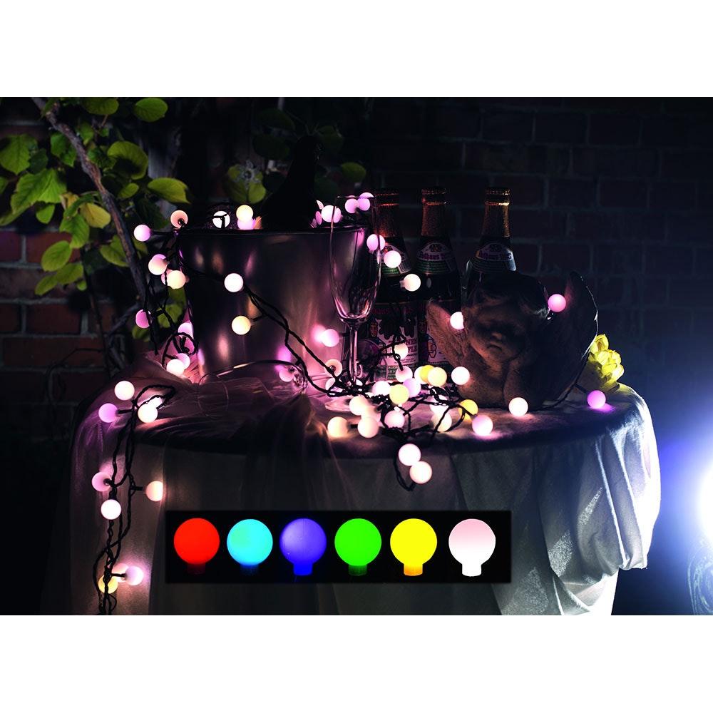LED Globelichterkette große runde Dioden mit RGB Farbwechsel 80 RGB Dioden IP44 8