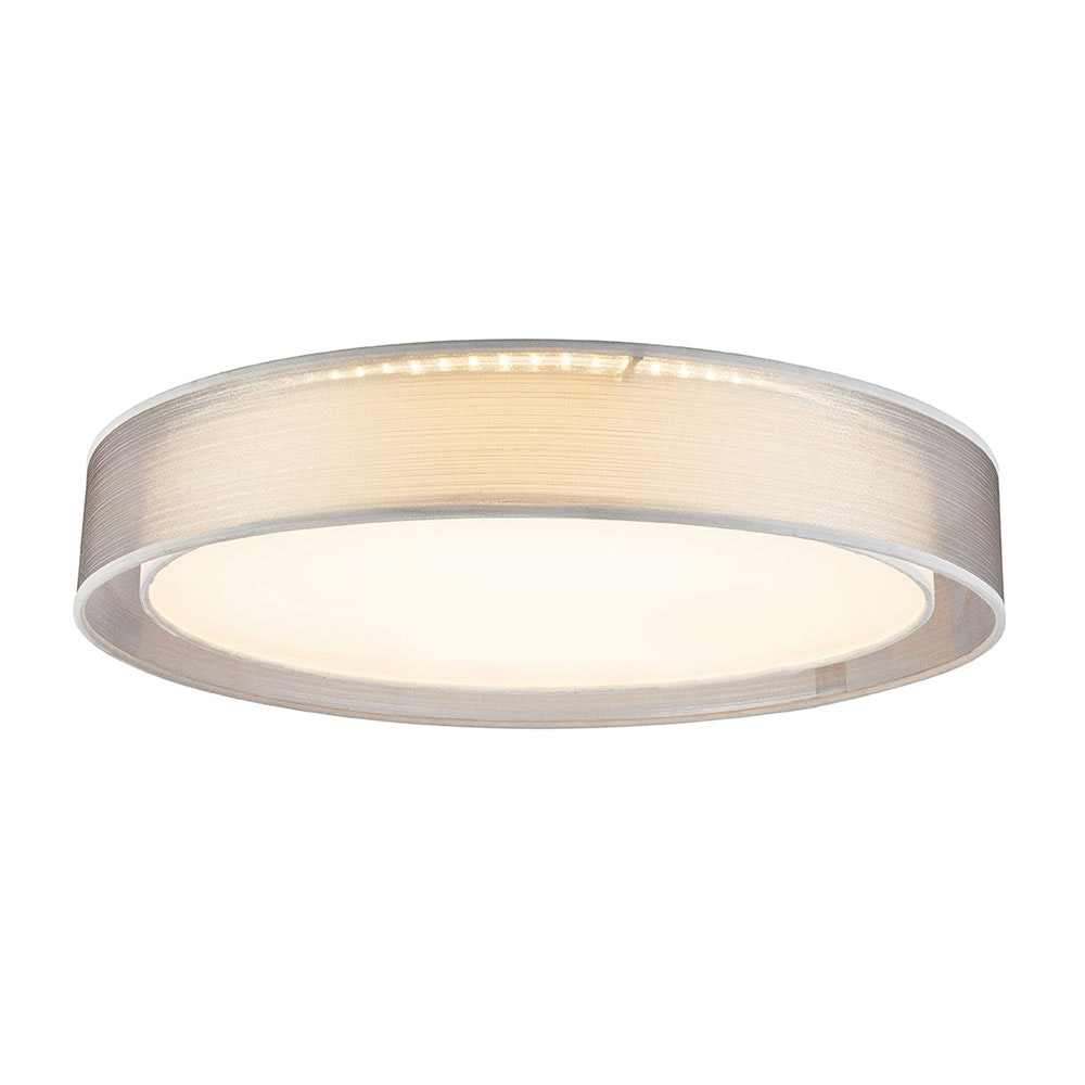 LED Deckenleuchte Theo CCT 3000-6000K Höhe Schirm 10cm Nickel-Matt, Grau, Satiniert 1