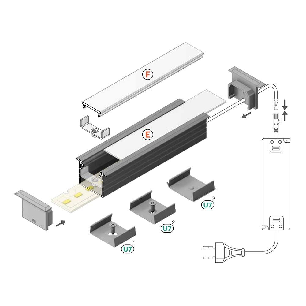 XXL Einbauprofil 200cm Alu-roh ohne Abdeckung für LED-Strips 3