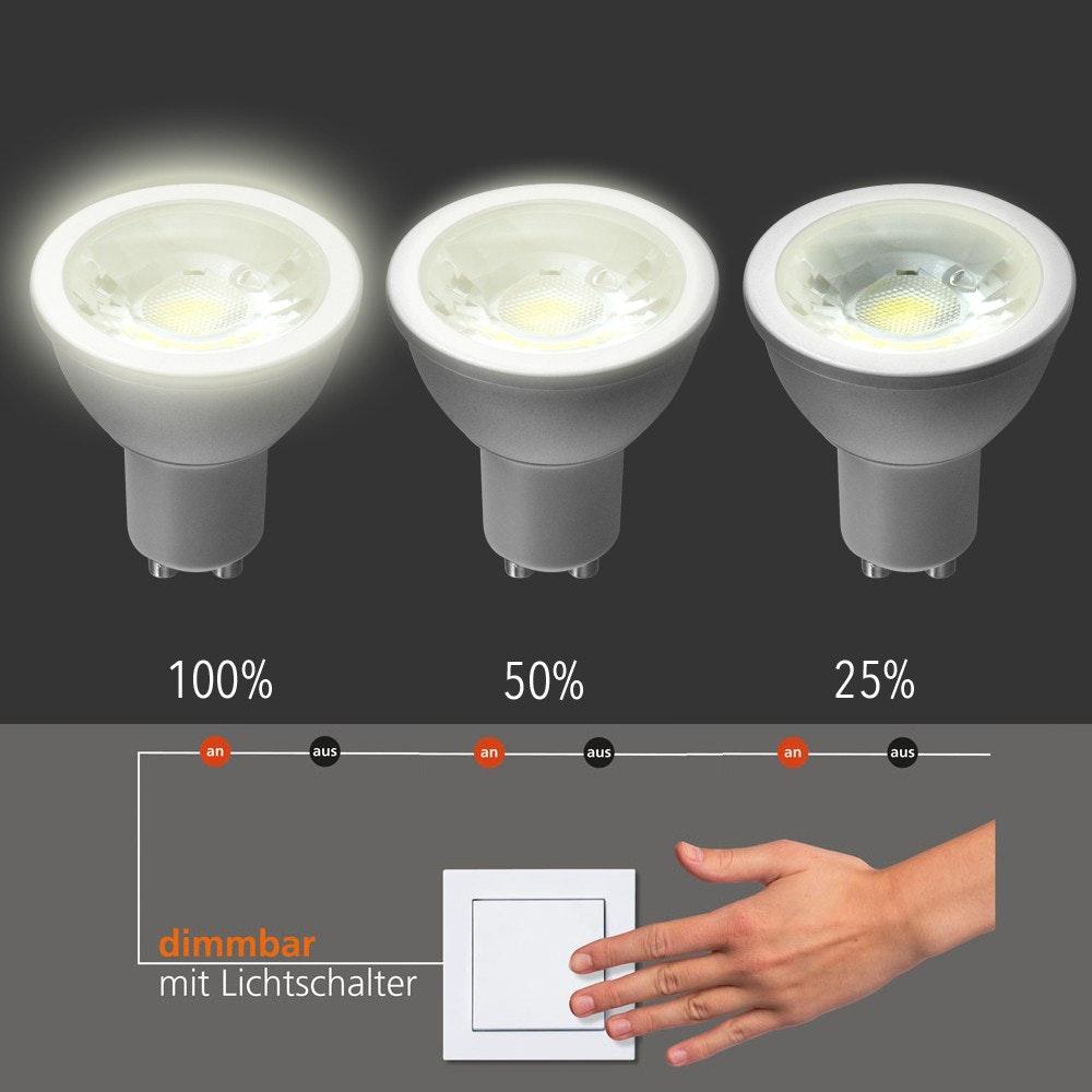 GU10 LED-Leuchtmittel dimmbar per Schalter Warmweiß 400lm