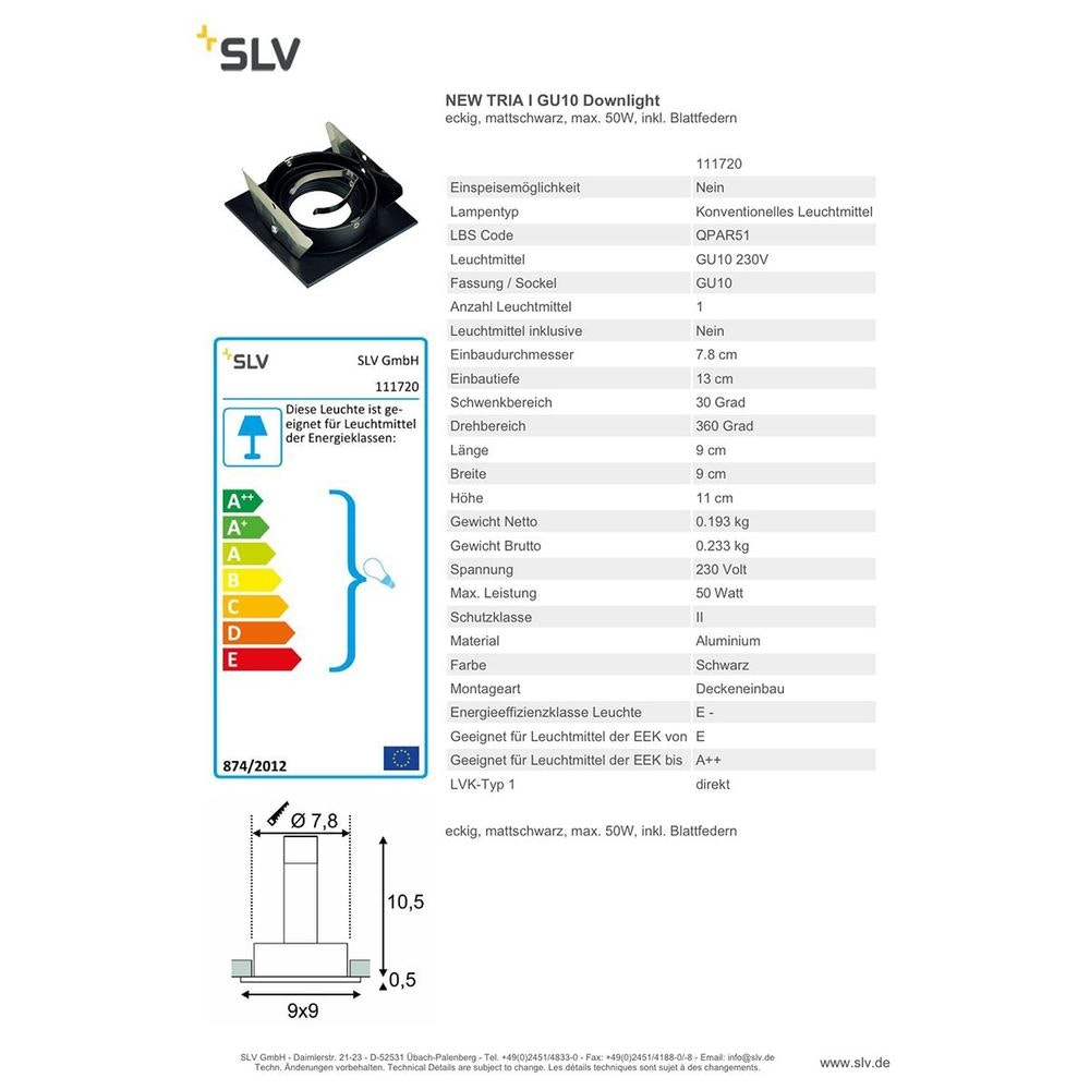 SLV New Tria I GU10 Downlight, Square Schwarz max. 50W inkl. Blattfedern 3