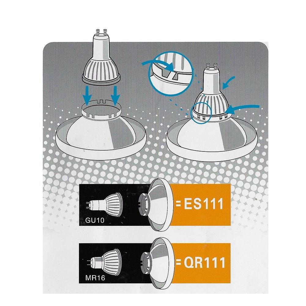 ES111 Reflektor / Adapter für LED GU10 Fassung 2