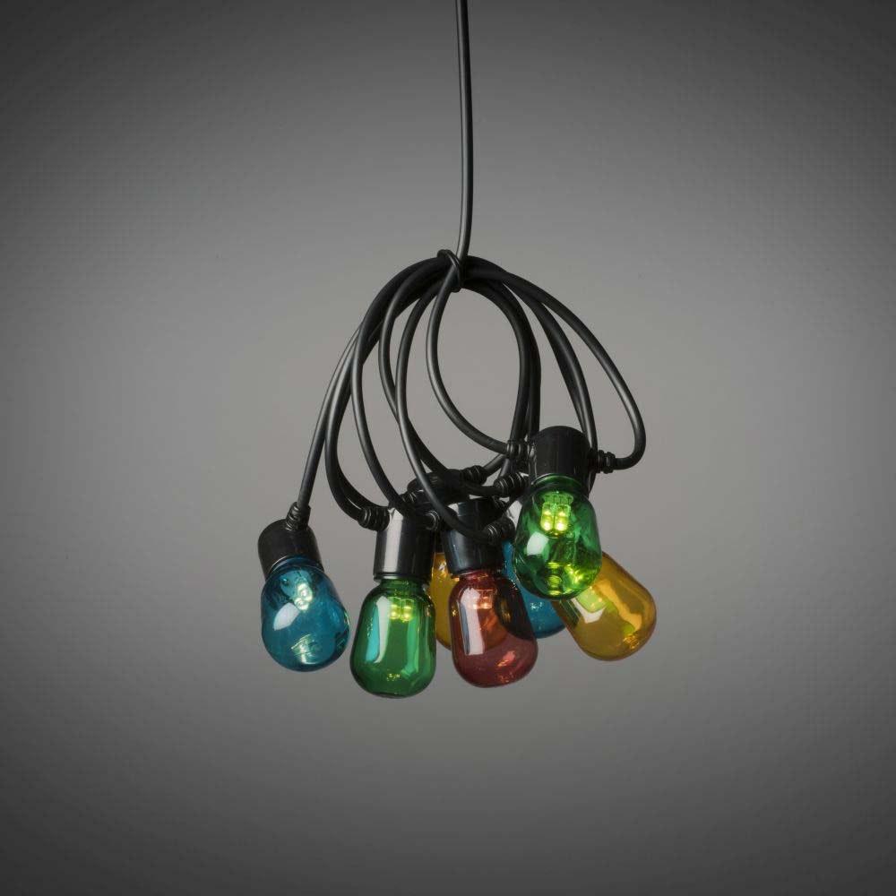 LED Biergartenkette bunt 20 bunte Birnen 40 warmweiße Dioden 6V IP44 2