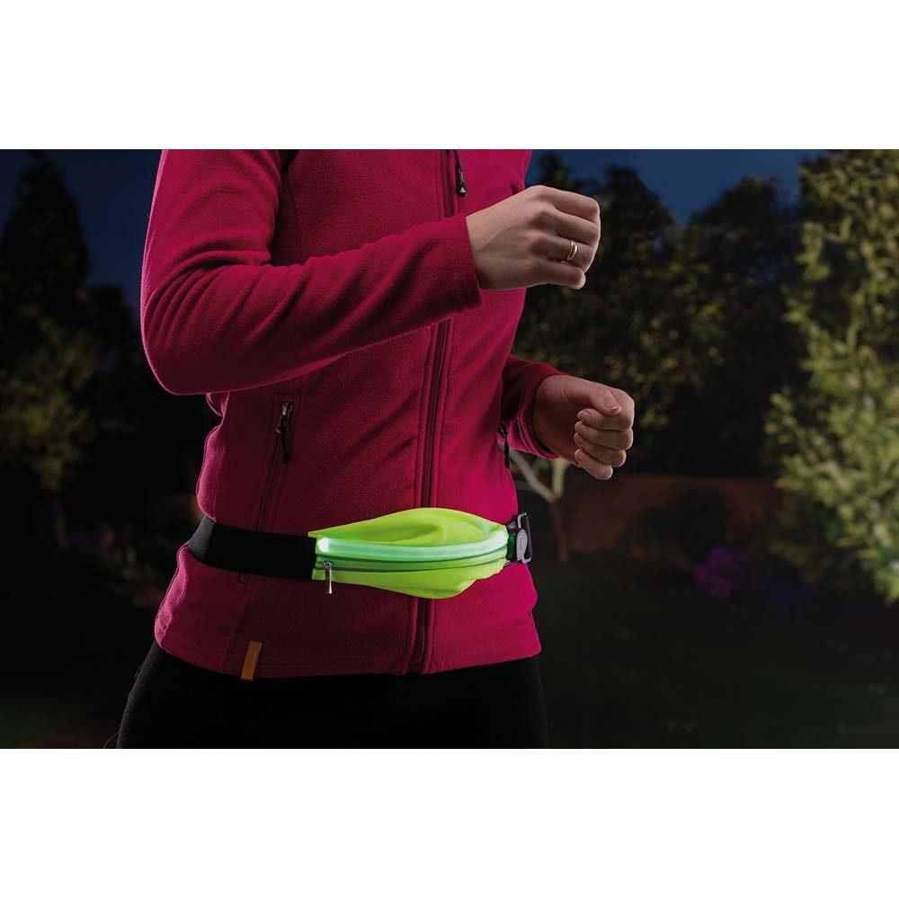 LED Laufgurt mit Smartphone-Fach inkl. USB und Akku Gelb 10