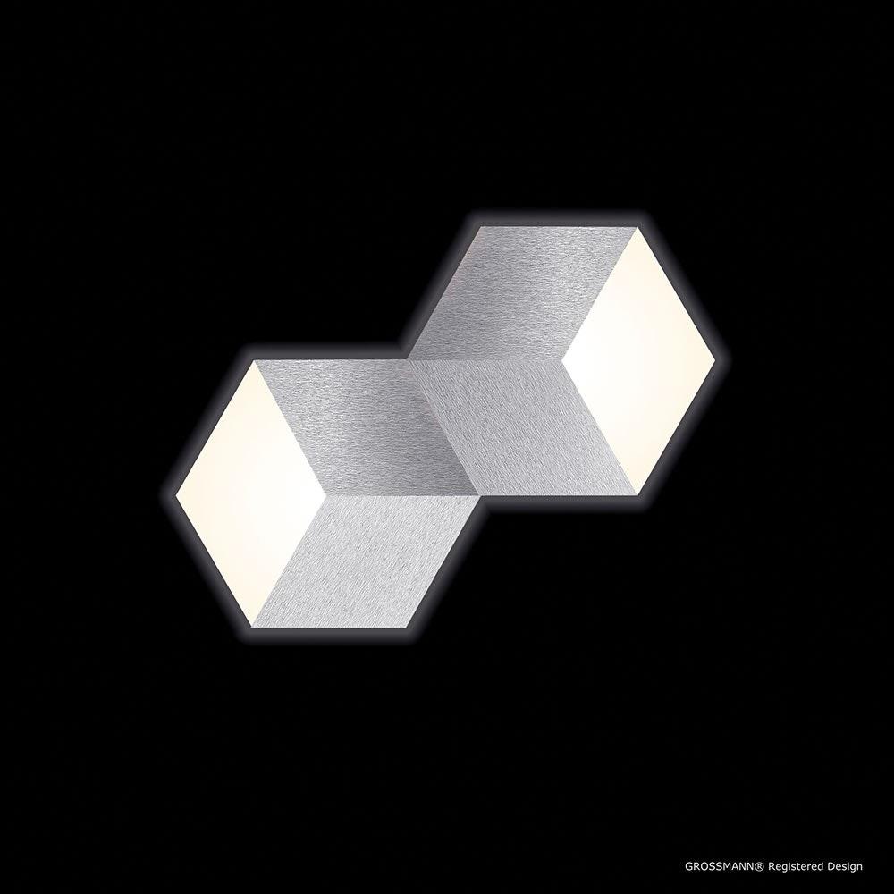 Geo LED-Deckenleuchte 2-flammig 53 x 30cm Alu-matt 2
