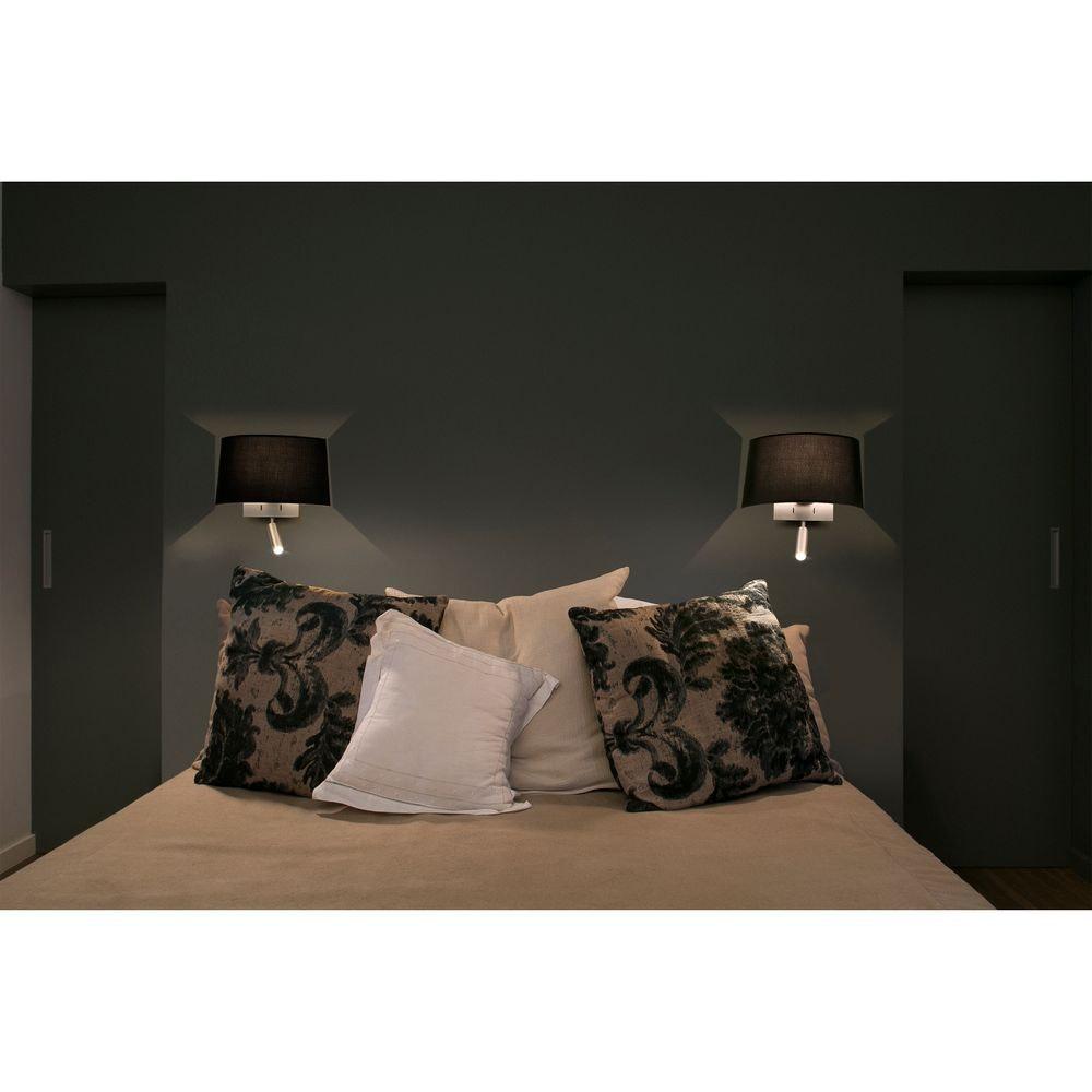 Wandlampe VOLTA mit LED-Leselicht 2700K Nickel, Schwarz 2