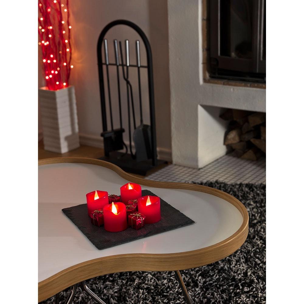 LED Echtwachskerzen 4er-Set rot zerlaufene Wachsoptik 4 Warmweiße Dioden batteriebetrieben