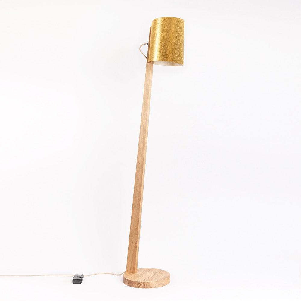 Holz Stehlampe mit Schirm Zylindrisch 167cm 16