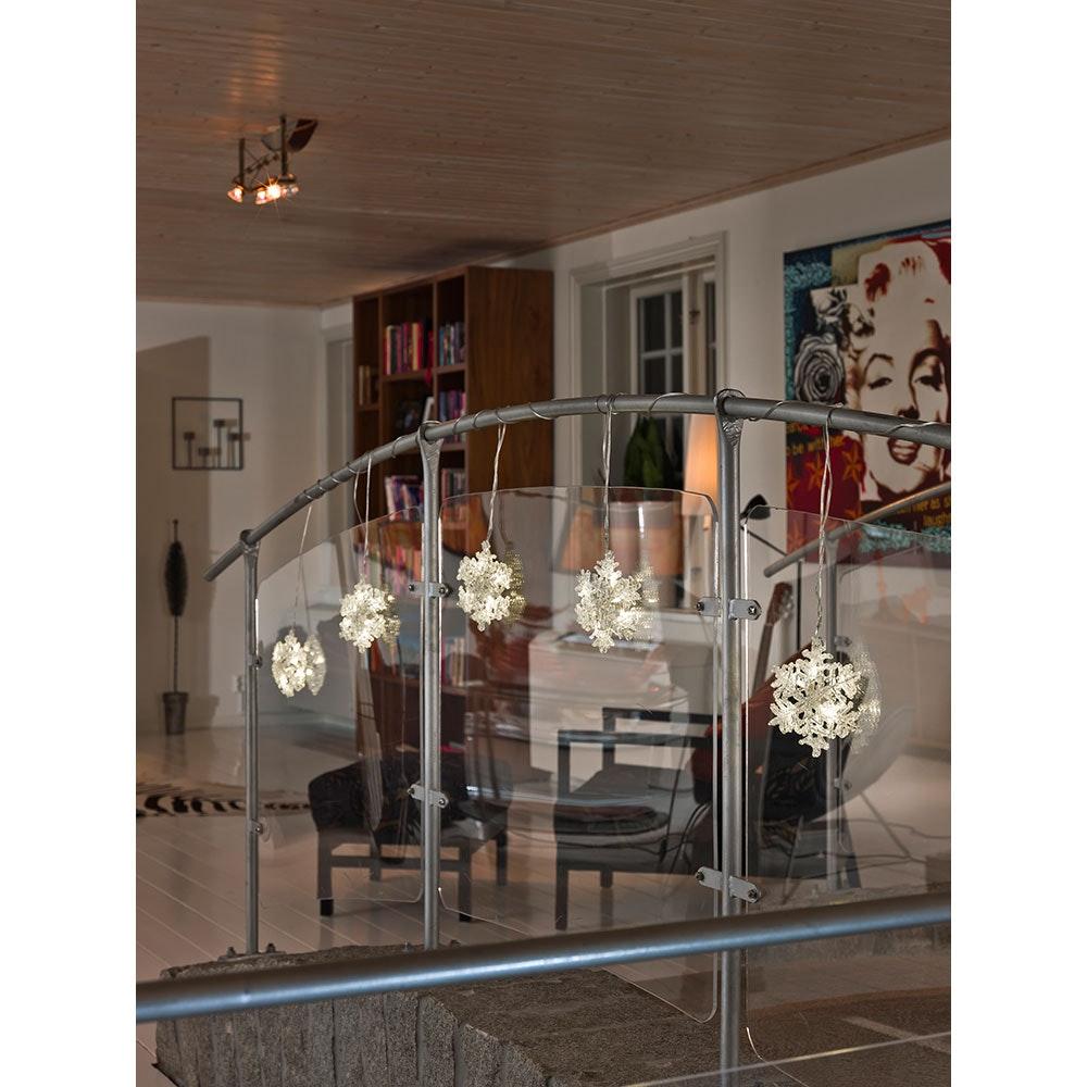 LED Acryl Schneeflocken Lichtervorhang 5er-Set 30 Warmweiße Dioden