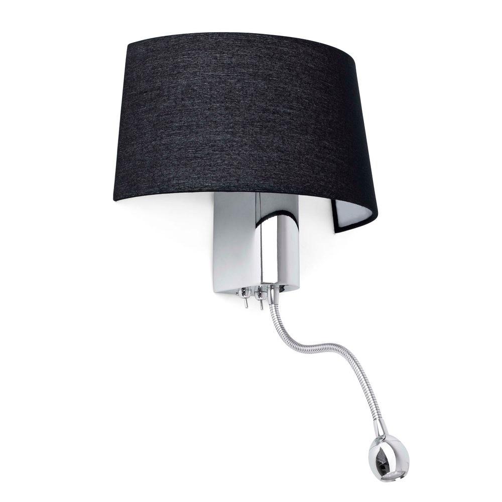 Wandlampe HOTEL mit LED-Lesearm IP20 Chrom, Schwarz 1