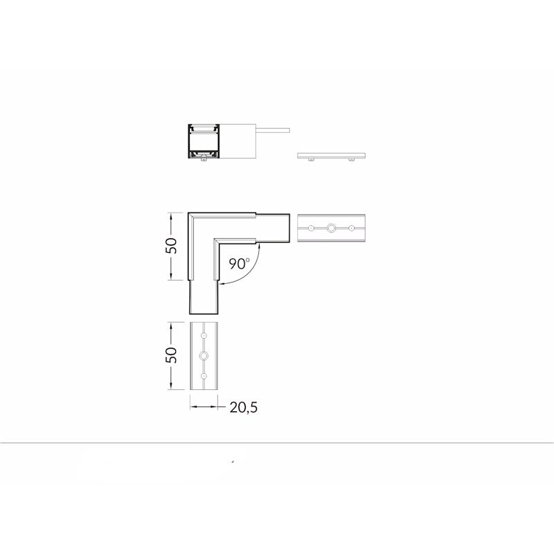 90° Ecke für Aufbauprofil tief Weiß 3