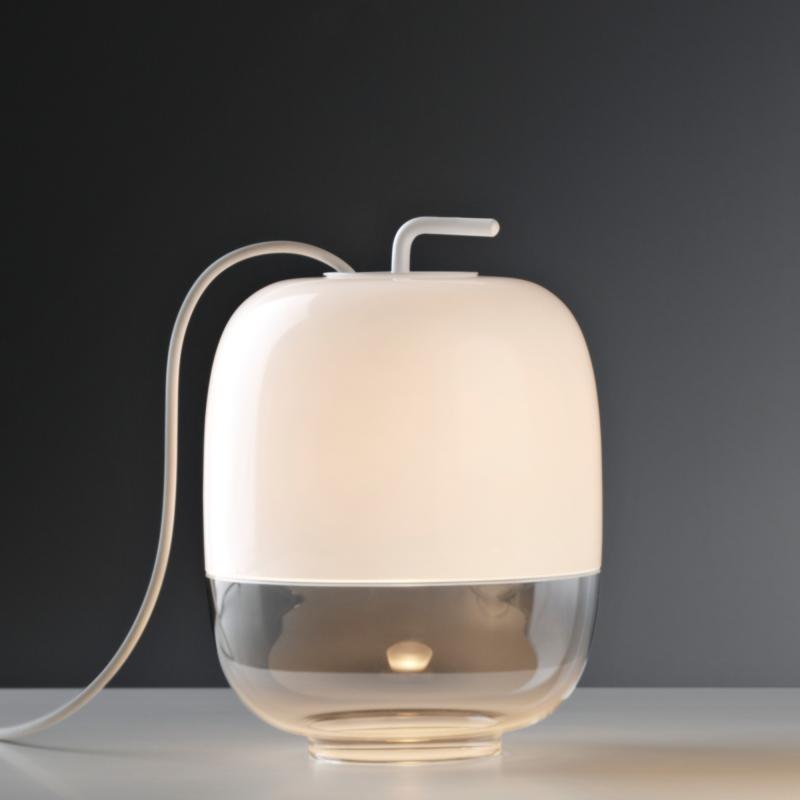 Prandina Glas Tischleuchte Gong T1 Weiß