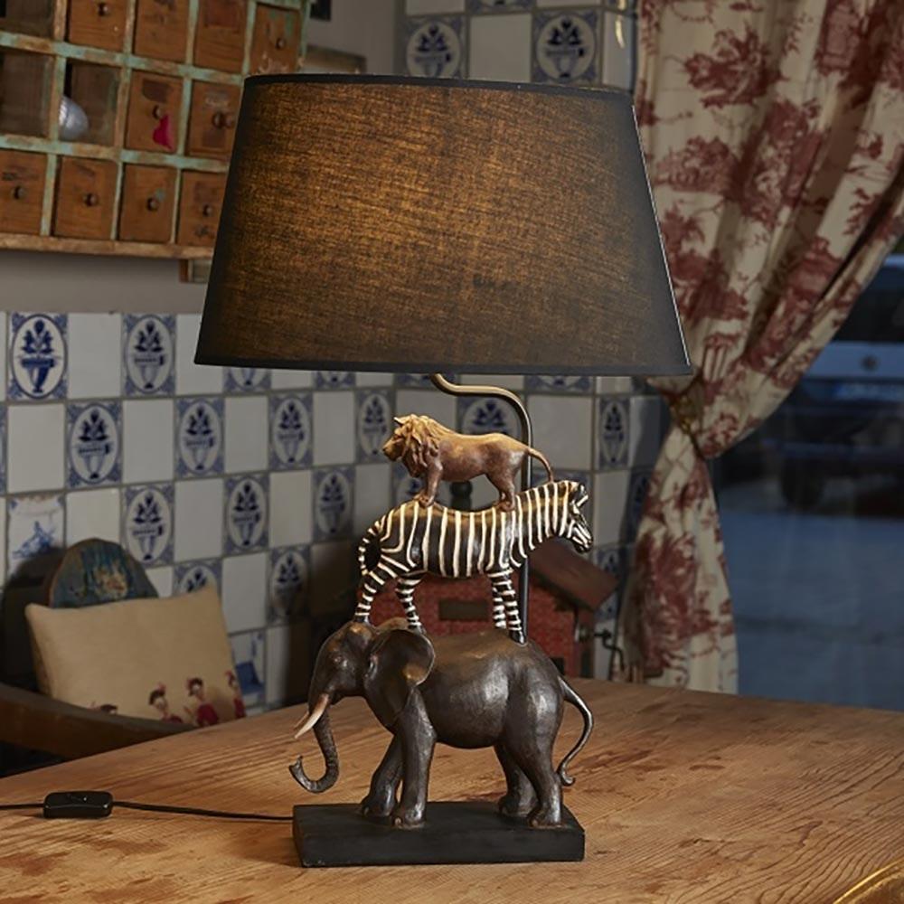 Dekorative Tischleuchte Safari Schwarz thumbnail 3