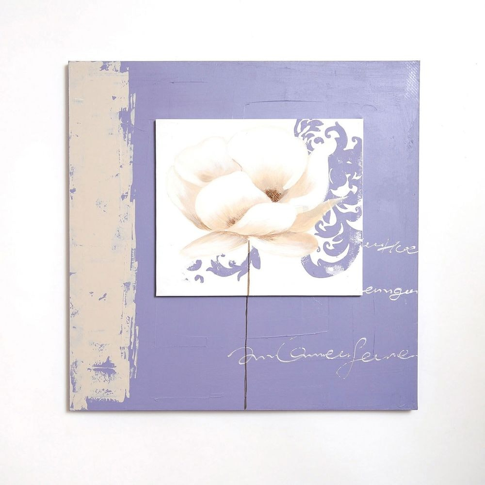 Wandbild Ottico Leinwand-Holzrahmen Beige-Violett- Weiß 2