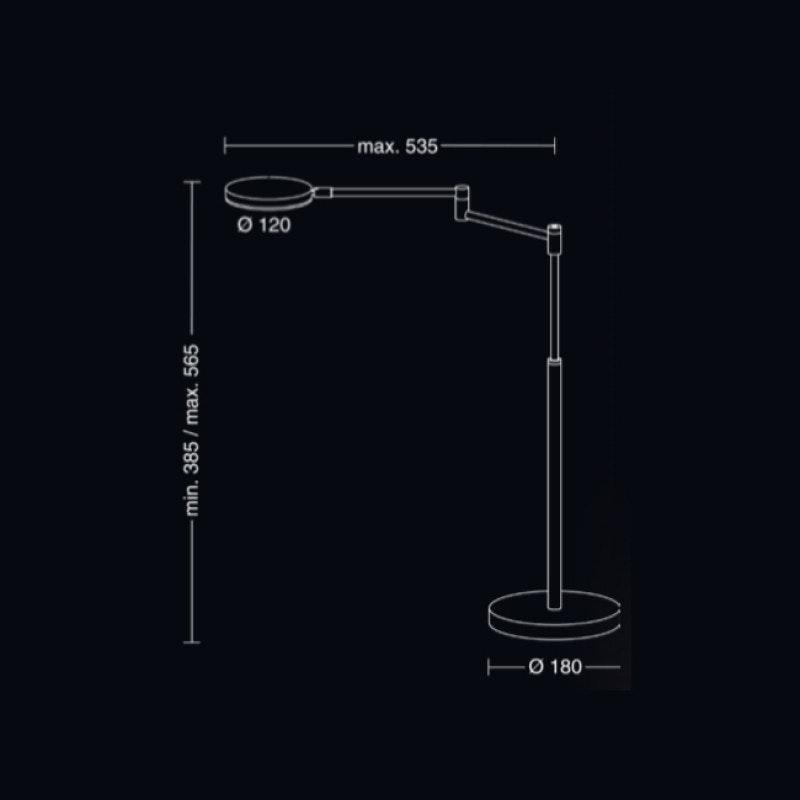 Holtkötter LED-Tischleuchte Plano T mit Tastdimmer Schwarz 2