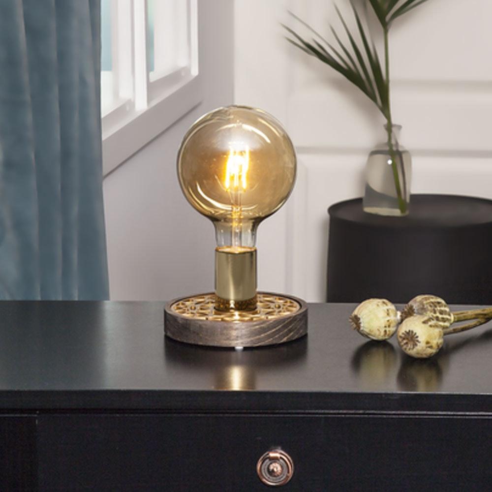 Tischleuchte in Holz und Goldfarben für E27 Leuchtmittel 2