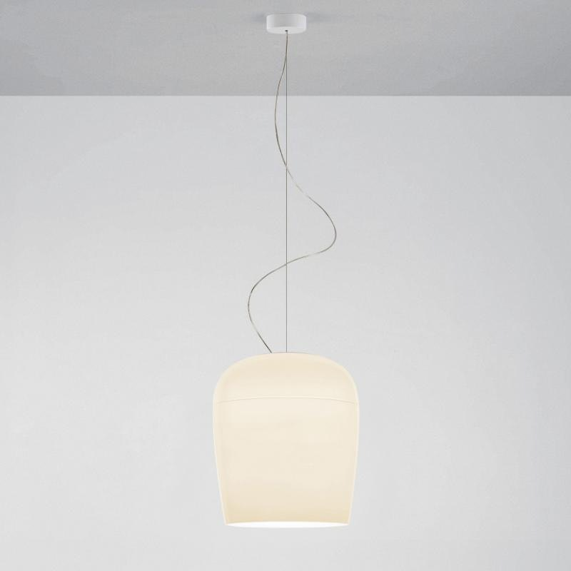 Prandina ovale Glaslampe Tiara S3 Elfenbein 1