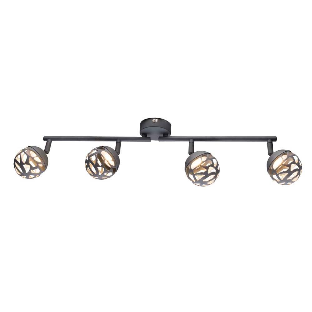 LED Strahler Ohio 4-flg. Spots mit Dekorstanzungen beweglich Grau, Silber-Metallic