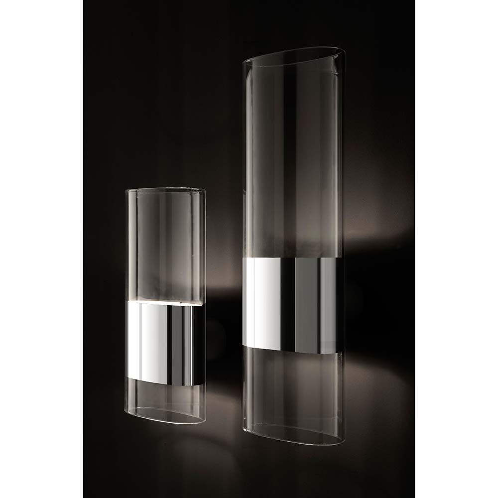 Oluce riesige Glas Wandlampe Line Chrom 2
