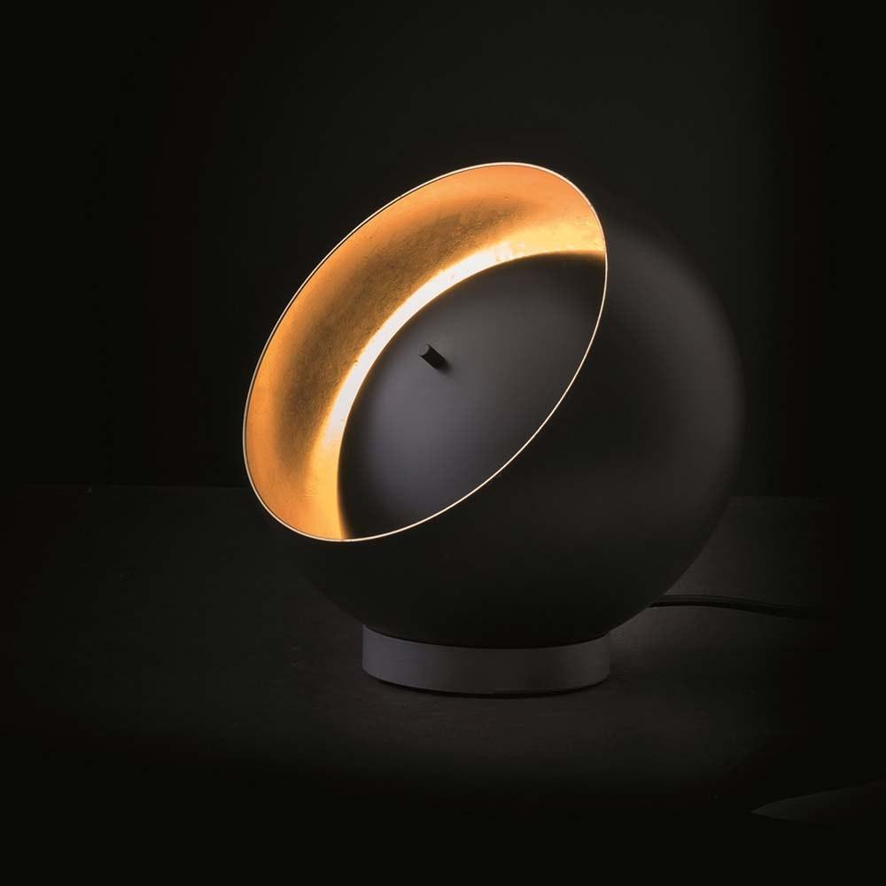 Oluce effektvolle LED Tischleuchte Eva Schwarz, Goldfarben