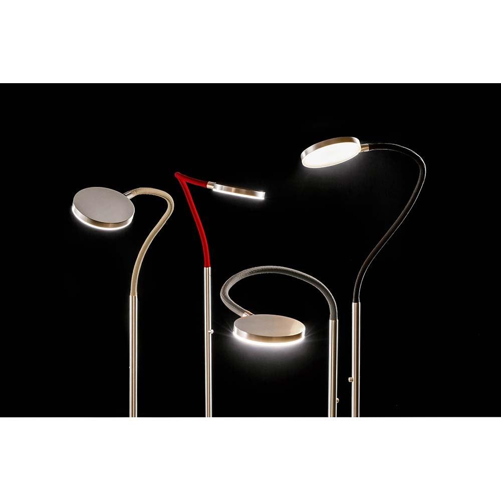 Holtkötter LED-Stehleuchte FLEX S Alu-Matt, Rot mit Tastdimmer 2200lm 2700K 2