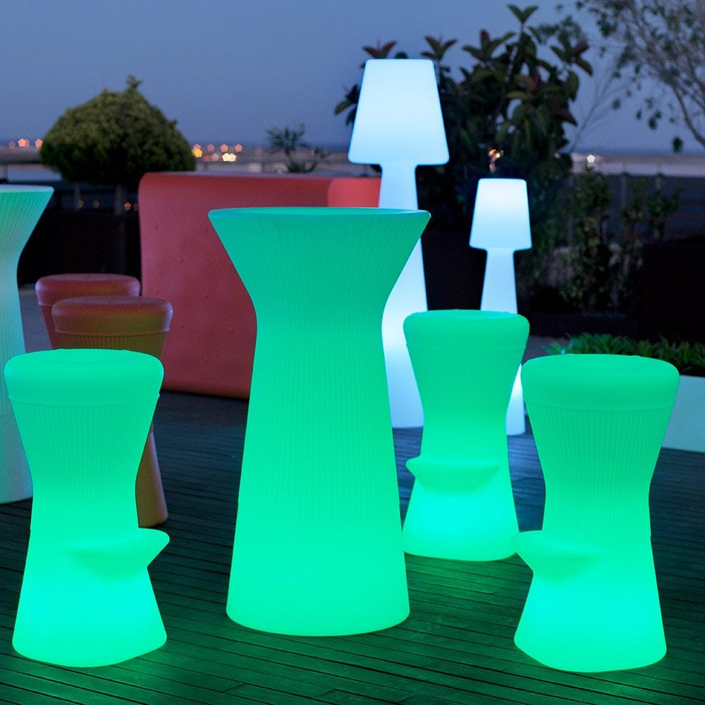 Licht-Trend LED beleuchteter Hochtisch Capri 110cm mit Fernbedienung  5