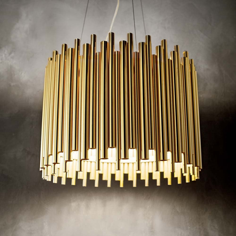 Ideal Lux Pendelleuchte Pan 5-flg. Goldfarben, Klar 1