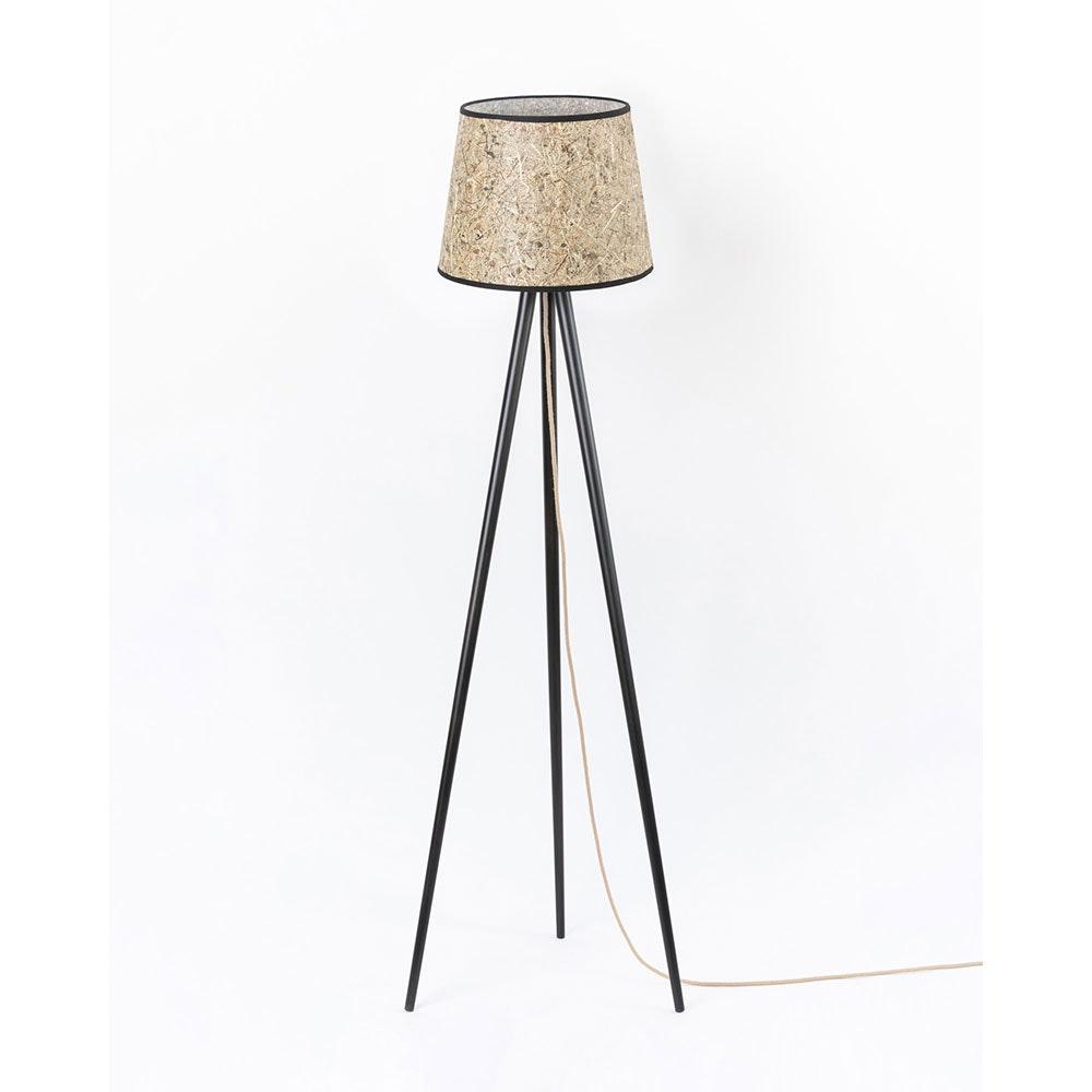 Holz Dreibein-Stehlampe mit Heuschirm 3