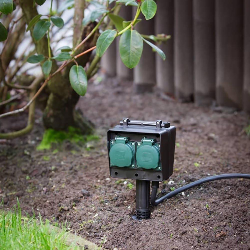 SLV 4-Fach Gartensteckdose IP44 mit 10m Zuleitung 1