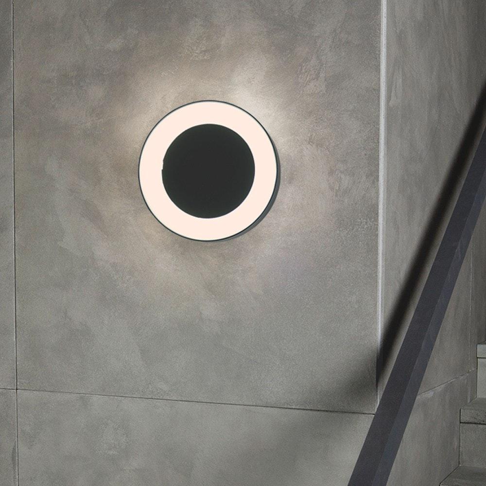 s.LUCE Hole LED-Aussenleuchte Ø 20cm Wand & Decke 10W Anthrazit