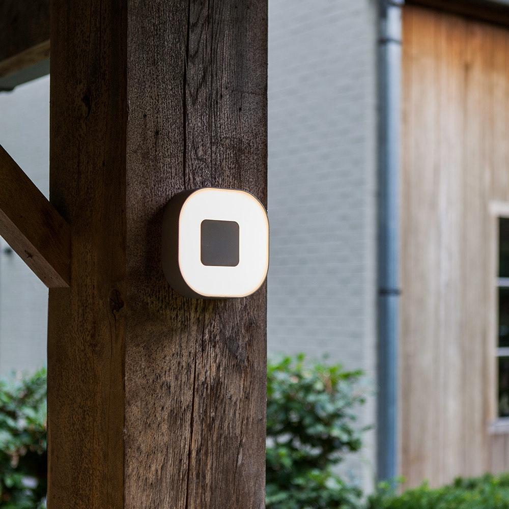 LED Außenwandlampe Ublo 16x16cm IP44 Grau 2