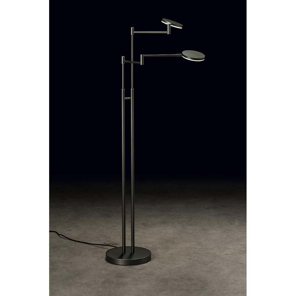 Holtkötter LED-Stehleuchte PLANO TWIN Platin Tastdimmer 4400lm 2700K 1